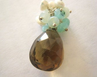 Brown Quartz Necklace Blue Peruvian Opal Whiskey Quartz Necklace Sterling Silver Gemstone Cluster Beach Wire Wrapped Pendant Gift Idea