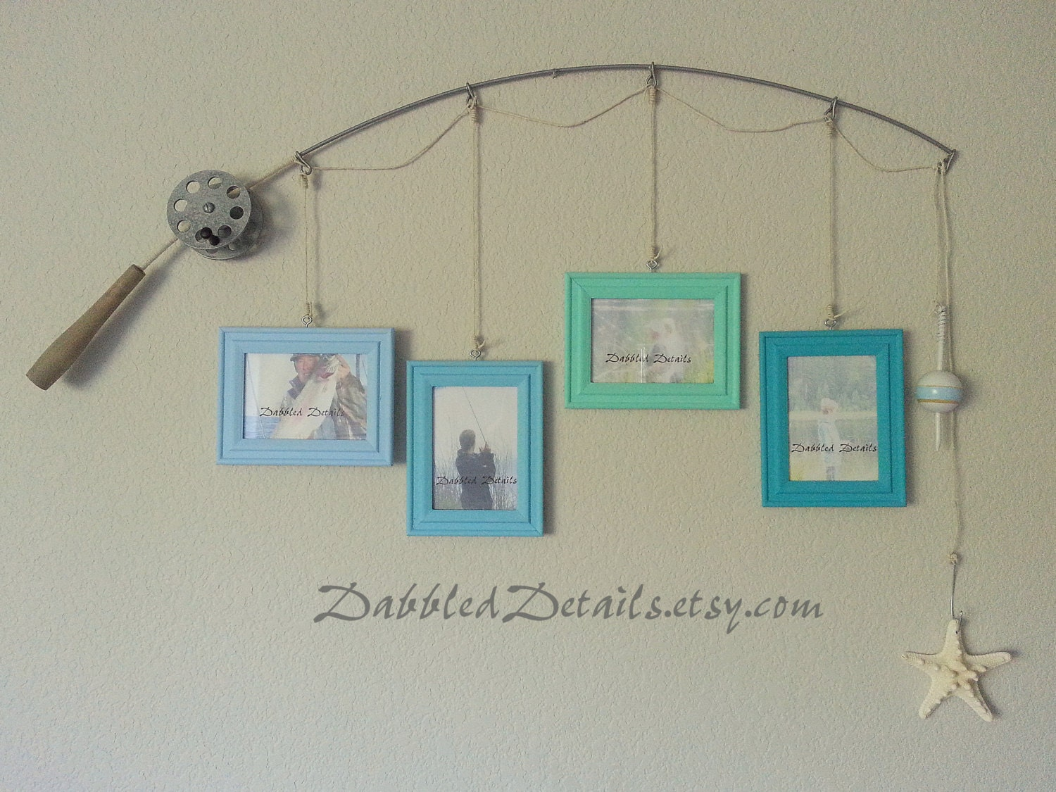 Fishing pole picture frame metal silver 4 frames 3 5 x 5 for Fishing picture frame