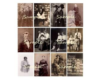 Printable Antique Photo Collage Instant Download Vintage Victorian Men, Women, Children, Nurse, Digital Collage Sheet
