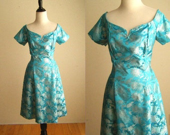 Vintage Asian Style Turqoise & Silver Party Dress