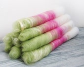 Rolags hand carded merino wool in pink green and white with soya fiber  - Spinning fiber or felting wool