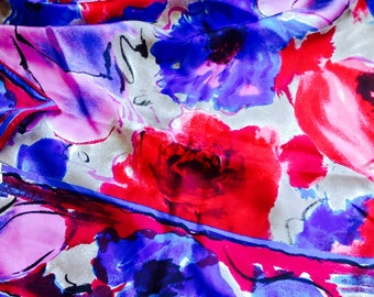 Vintage Floral VERA NEUMANN Silk Scarf with Bright Purple, Pink and Blue Colours