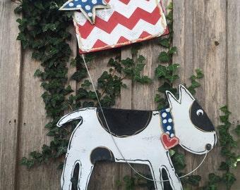 Screen Door Hanger, Patriotic 4th of July Door Hanger, Puppy with Red White and Blue American Flag Door Hanger, Independence Day Door Hanger