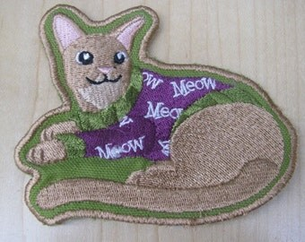 Cat in PJs patch - DISCOUNTED FOR FLAW
