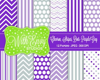 SALE   Purple and Grey Digital Paper - Purple and Gray Scrapbook Paper - Chevron Digital Paper - Polka Dot Paper - Commercial Use OK