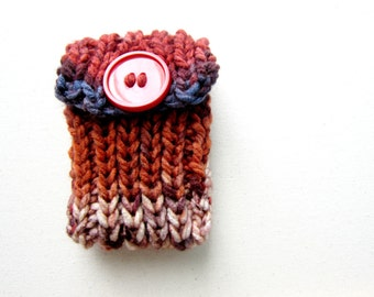 Knit Cell Phone Case I-Phone Cozy Knitted Crochet Red Button Gadget Cover Cellular Multicolor Android