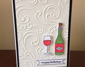 Handmade Wine Bottle Birthday Card
