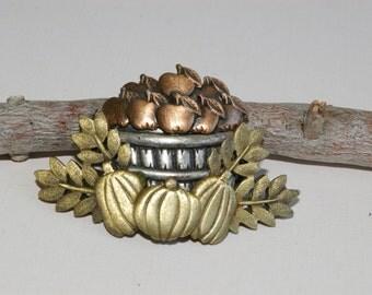Tri-Color Metal Harvest Basket Brooch - Copper, Brass, Pewter - Matte Finish - 1980s