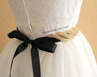 Gold  Metallic Lace with Champagne Satin Sash , Bridal Sash, Bridesmaid Sash ,GSH-31