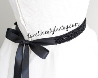 Black Sequined and Beaded Lace Black Ribbon Sash, Bridal Black Sash, Bridesmaid Sash, Black Sequined Headband.