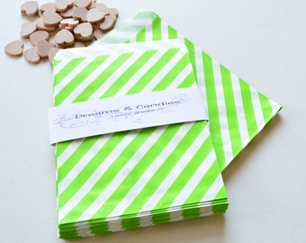 "25 Patterned Green Lines Paper Bags Size 5 1/8 x6 3/8"" -Candy Bags -Birthday Paper Bags -Green Paper bags -Wedding Favor Bags -Birthday Bags"