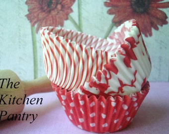 "Cupcake Liners - Baking Cups "" Red Ivy Mix  ""(75 Standard)"