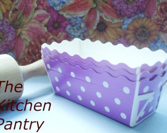 Mini Loaf Baking Pans in Purple Dots (12) -  breads, cakes Cupcakes