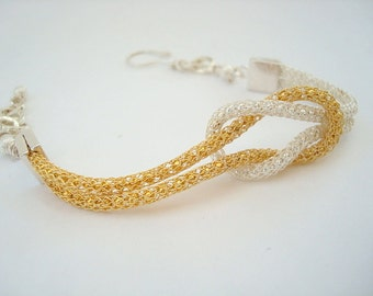 Bracelet - Love Knot - Eternity - Silver and Gold SilverSilk  - Mixed Metals