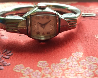 Sale Vintage Art Deco White Gold BENRUS 10K gf, 17 jewels Bracelet Bangle Ladies Watch working Shop for Birthdays or Weddings or Christmas