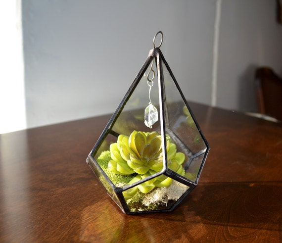 Small Hanging Terrarium, Glass Terrarium, Geometric Teardrop Shape Plant holder With chain and crystal.