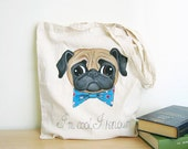 Pug Tote bag. Personalized Hand painted cotton bag. Back to school. MADE TO ORDER