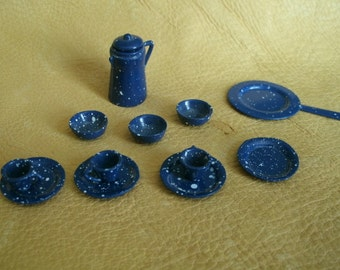 Miniature Doll House Graniteware Dishes 12 pieces