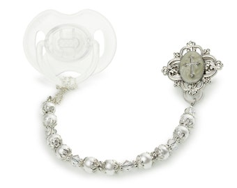 Baptism Gift ,Pearl  Pacifier Clip, Baby christening gift, cross,goddaughter or godson white and very blingy silver accents (CCRS)MSRP 39.00