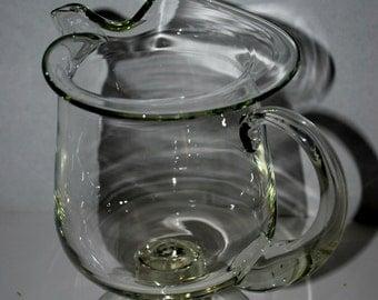 vintage hand blown glass pitcher   martini pitcher barware ice tea pitcher