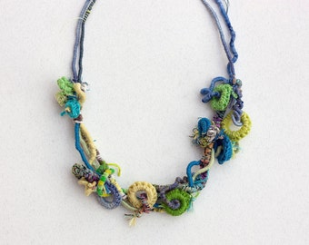 Unique fiber necklace, hand wrapped statement jewelry with bamboo beads, blue yellow green turquoise