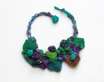 Green purple bib necklace, statement knitted jewelry, OOAK fiber necklace