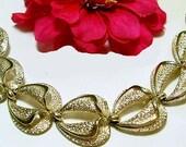 "CORO Bracelet Designer Signed Gold Metal Textured Heart Link Style BIG 7.5"" Mid Century Vintage"
