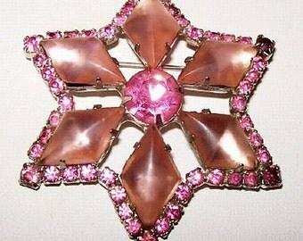 "Star Brooch Pin Pink Art Glass Rhinestones Silver Metal High Fashion 2 1/4"" Vintage"