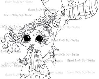 INSTANT DOWNLOAD Digital Digi Stamps Big Eye Big Head Dolls img258 By Sherri Baldy