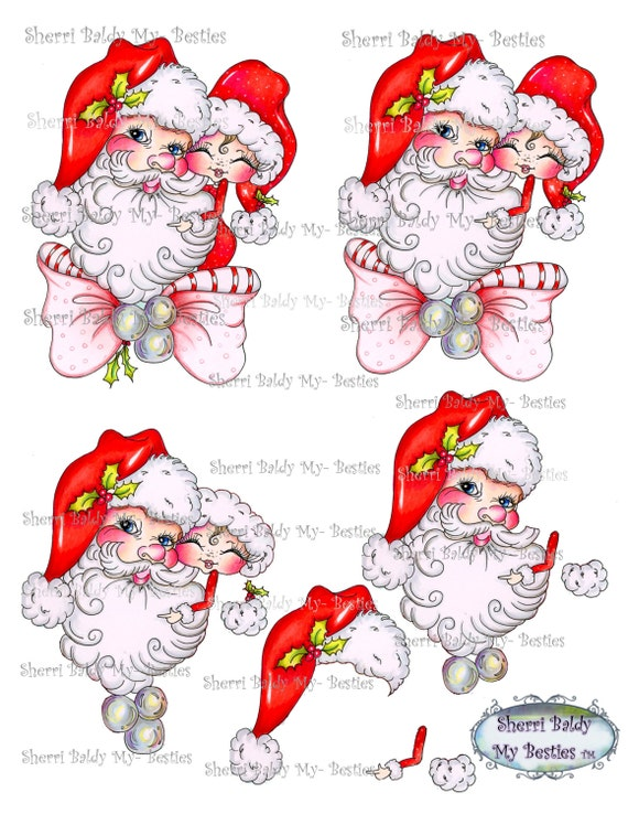Instant Download Santas Little Bestie 3D Decoupage kit Besties Big Head Dolls Digi By Sherri Baldy