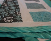 Color Block Pieced Baby Blanket with Minky Back and Satin Edging - Aqua, Blue, Grey, White