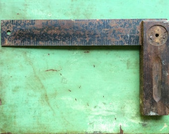 """Antique 9"""" Steel Square with Wood Handle"""
