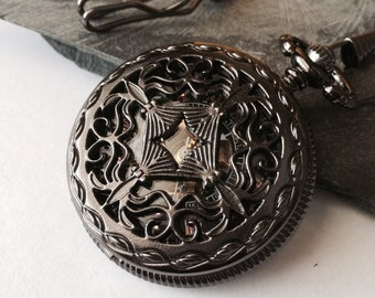 Steampunk Pocket Watch Personalized Mechanical Gunmetal Black Watch with vest chain - Celtic Love Knot Groomsmen Gift VM006