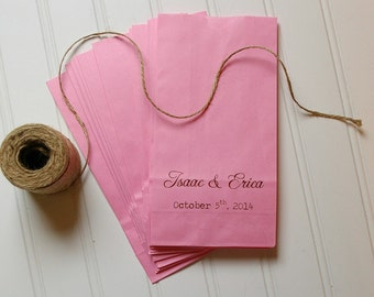 Personalized Colored Paper Bag Favors- Set of 50. Party Favors. Wedding Reception. Bridal Shower Favors. Kraft Paper. Rustic Wedding. Favors