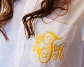 Bridesmaid Button-Down Shirt -Set of 10 -  Monogram - Embroidered - 29 Colors - Flower Girl - Oversize - Boyfriend Shirt
