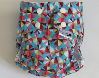 Blue Pinwheels PUL Water Resistant Diaper Cover Available in Small, Medium, and Large