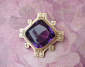 Beautiful Edwardian Era Brooch with Gorgeous Purple Faceted Stone