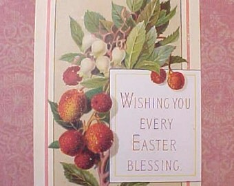 Lovely Victorian Easter Scrap Card with Pretty Berries Motif