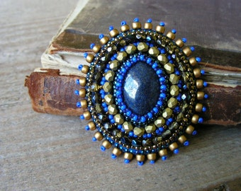 Blue Gold Brooch Bead embroidered Brooch Cabochon Brooch Beadwork Brooch Lapis Lazuli Brooch Blue Gold Jewelry MADE TO ORDER