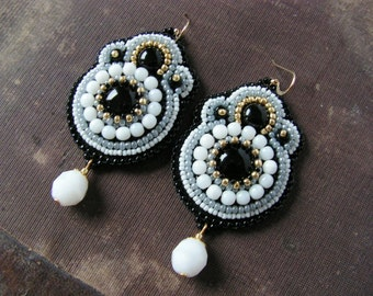 Black White Grey Earrings Embroidery Earrings Beadwork Earrings Bead embroidered jewelry  Black White Jewelry MADE TO ORDER