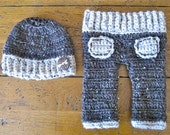 crochet baby boy pants and hat set   FREE domestic shiipping