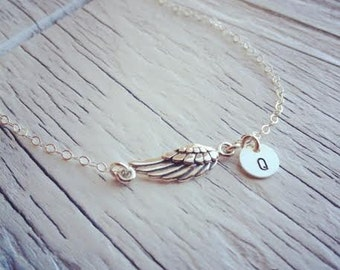 Sideways Angle Wing Initial Necklace - Angle Wing Initial Necklace - All Sterling Silver - Everyday Jewelry - Personalized Necklaces
