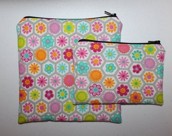 Reusable ZIPPER Sandwich Bag and Snack Bag Combo, Flowers - Zipper Sandwich Bag