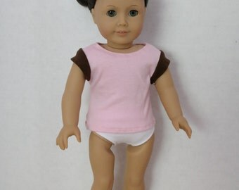 Pink doll t-shirt with brown sleeves