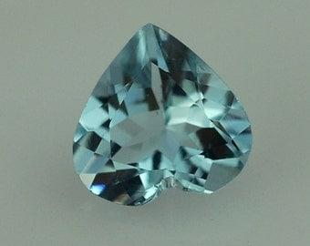 Natural Blue Aquamarine Gemstone Faceted Heart Size 5 mm, 6 mm, 7 mm