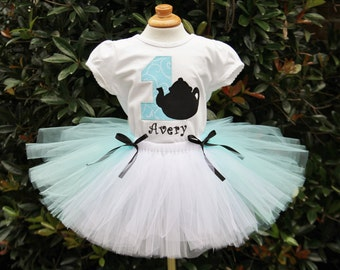 Alice in ONEderland teapot shirt and tutu set