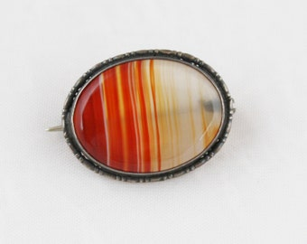 Victorian Antique Vintage Agate Natural Stone Oval Brooch