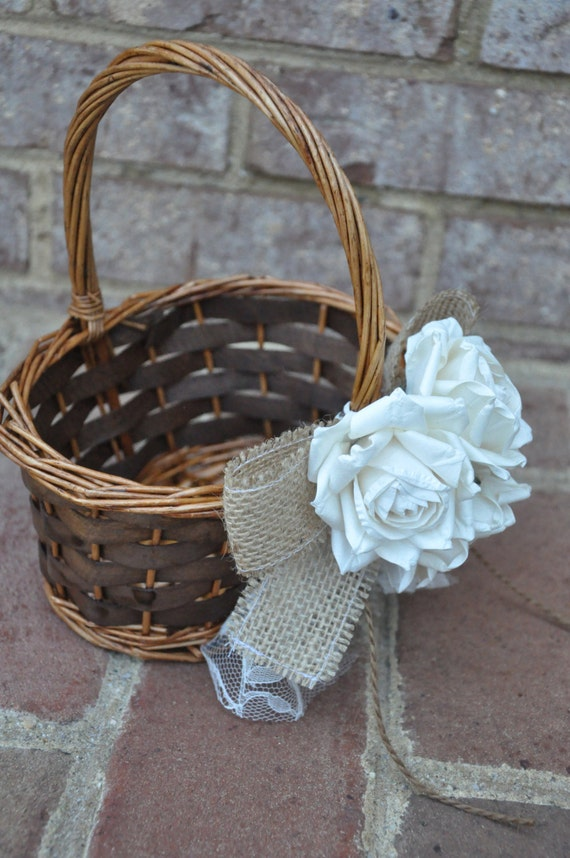 How To Make A Lace Flower Girl Basket : Burlap and lace flower girl basket rustic