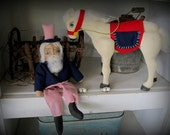 Primitive Americana Uncle Sam Doll and His Horse / Americana Decor