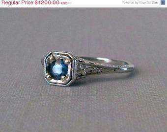Orange Blossom Engagement Ring Art Deco CornFlower Blue Saphire
